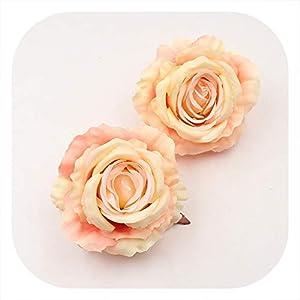 Memoirs- 1Pcs Large Silk Artificial Rose Flower Heads Wedding Party Home Decoration DIY Craft Bridal Wreath Scrapbooking Handmade Flowers,Orange 63