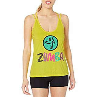 Zumba Active Easy Fit Graphic Design Strappy Workout Gym Tank Tops for Women
