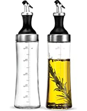 Superior Glass Oil and Vinegar Dispenser, Modern Olive Oil Dispenser, Wide Opening for Easy Refill and Cleaning, Clear Lead Free Glass Oil Bottle, BPA Free Pouring Spouts, 18 Oz. Cruet Set