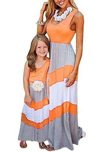 Tank Leopard Belt - BYM Mommy and Me Matching Dresses Long Maxi Beach Sundress Orange+White 1-2T