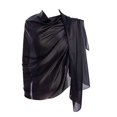 (Cyzlann Women's Scarves 100% Silk Long Lightweight Scarfs for Women (black) )
