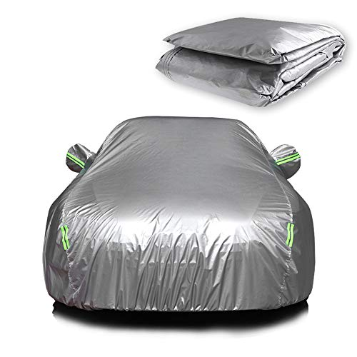 """ECCPP Universal Car Cover 100% Breathable 190T Polyester Waterproof Frost Resistant Cover Open With Zipper On Passenger Side All Weather Protection Up To 190""""for Most Cars Silver Grey -1 Year Warranty"""
