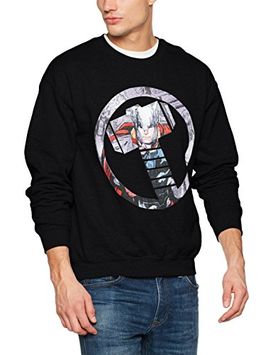 Noir Homme Montage Shirt Marvel Thor Symbol 001 black Sweat Mens Avengers Y0EfqF8E