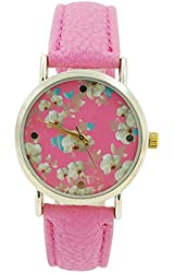 Women's Geneva Pink Faux Leather Pink Band Watch Pink Floral Dial