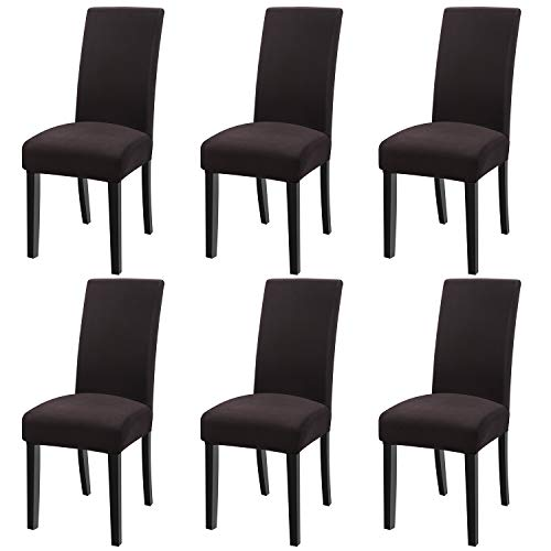 Fuloon Super Fit Stretch Jacquard Removable Washable Short Dining Chair Covers Seat Slipcover for Hotel,Dining Room,Ceremony,Banquet Wedding Party (6, BF)