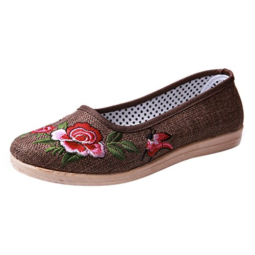 Dear Time Women Slip On Floral Flats Shoes Coffee log34B