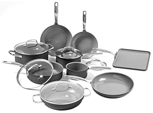 (GreenPan Chatham 14 Piece Ceramic Nonstick Cookware Set)