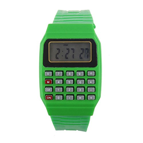 SMTSMT Children's Multi-Purpose Time Wrist Calculator Watch- Green