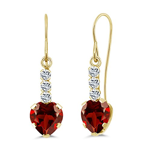 Gem Stone King 2.04 Ct Heart Shape Red Garnet White Topaz 14K Yellow Gold Earrings 14k Garnet Heart Earrings