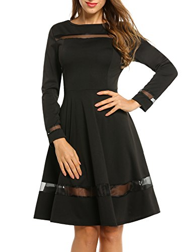 ACEVOG Women's Casual Sheer Mesh Panel Long Sleeve Flare Skater ()