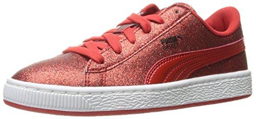 PUMA Basket Holiday Glitz Kids Sneaker (Little Kid/Big Kid), High Risk Red, 5.5 M US Big Kid (Best Cyber Weekend Deals)