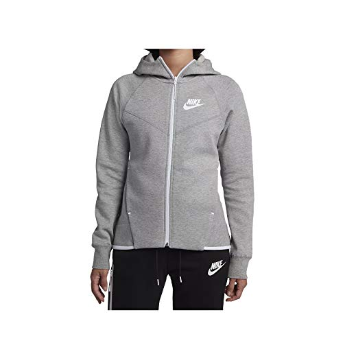 Nike Womens Tech Fleece Full Zip Hoodie Grey Heather/White 930759-063-Size ()