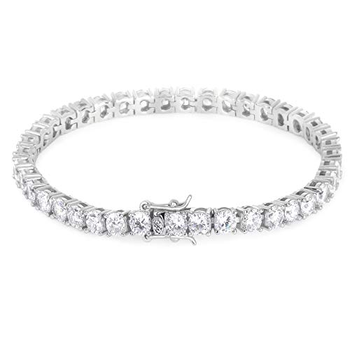 - KRKC&CO 4mm Tennis Bracelet, Single Row Iced Out Tennis Bracelet, Prong Setting with Hand-Selected 5A CZ Stones, Urban Street-wear Hip Hop Jewelry for Rappers Size 7 8 9 (Silver, 9)