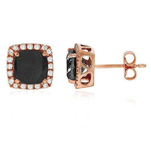 Sterling Silver Rose 6mm Cushion Onyx & Cr White Sapphire Halo Stud Earring
