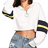 Spbamboo Womens Sweatshirt Fat Long Sleeve Blouse Zipper Stripe Short Sexy Tops