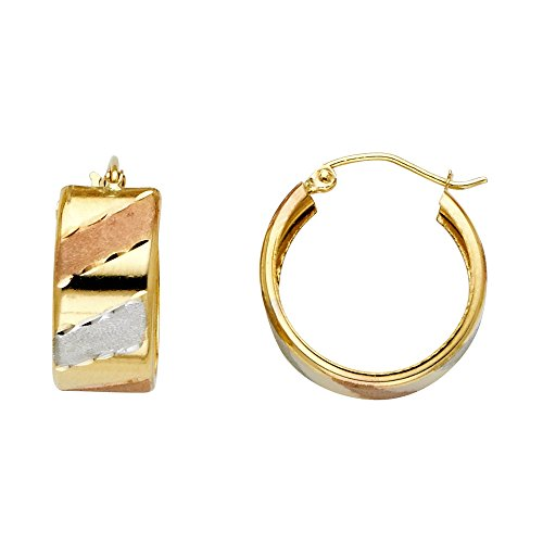 FB Jewels 14K White Yellow And Rose Gold Wide Design Diagonal Diamond-Cut Hoop Womens Earrings 18MM X 18MM