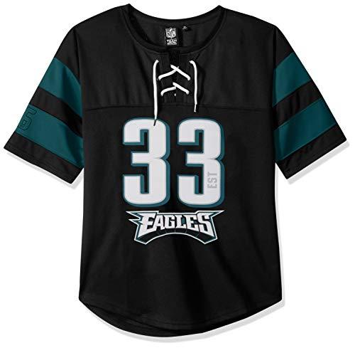 NFL Philadelphia Eagles Women's Hockey Jersey T-Shirt Mesh Lace Tee Shirt, Medium, Black