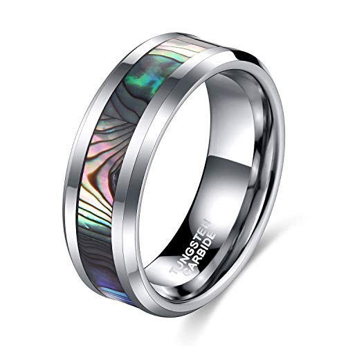(8mm Abalone Shell Tungsten Rings Comfort Fit Mother of Peal Men Women Wedding Band Size 10.5)