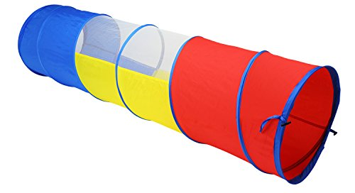 Zooawa 6 Feet Play Tunnel, Pop Up Discovery Multi-Color Tube Indoor & Outdoor Game Toy for Toddlers, Kids from 1 to 7 Years Old - Colorful