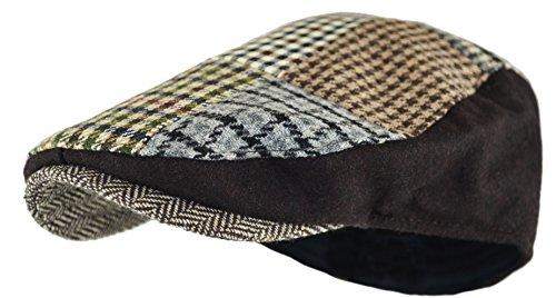 - Men's Classic Herringbone Tweed Wool Blend Newsboy Ivy Hat (Large/X-Large, Khaki-Patchwork)