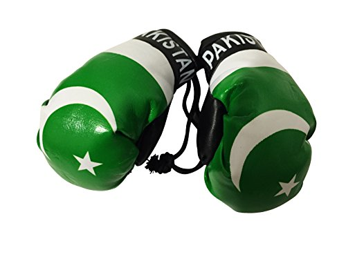 Flag Mini Small Boxing Gloves to Hang Over Car Automobile Mirror – Asia & Africa (Country: Pakistan)