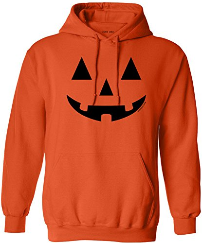 JACK O' LANTERN PUMPKIN Halloween Orange Hooded Sweatshirt-S]()