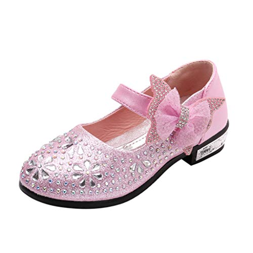 Beppter Flower Girls Dress Wedding Party Bridesmaids Heel Mary Jane Princess Dance Single Cool Shoes(Pink, 4-4.5Years) -
