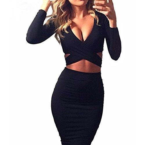 Figurbetontes Kleid Knielang, GRAVOG Sexy Fest V Ausschnitt Langarm Bodycon Kleid 2 teilig, Verschiedene Farben und Größen (M, schwarz)