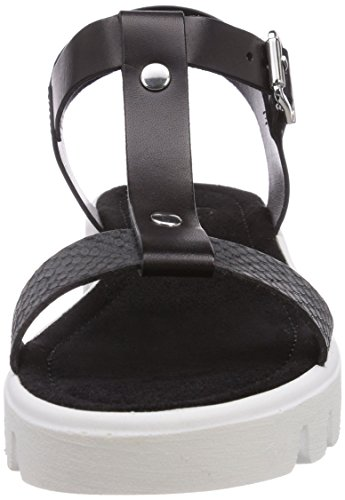 s.Oliver 28107 - Sandalias de vestir de cuero para mujer negro - Schwarz (Black/White 005)
