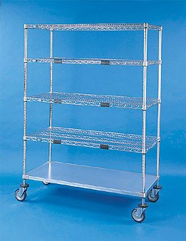 "Nexel XS412448 Exchange and Linen Transport Truck, Standard Duty, 4 Wire Shelves, 1 Solid Shelf, 24"" Width x 48"" Length x 69"" Height, 1200 lb Capacity, Chrome Plated Finish, Chrome"