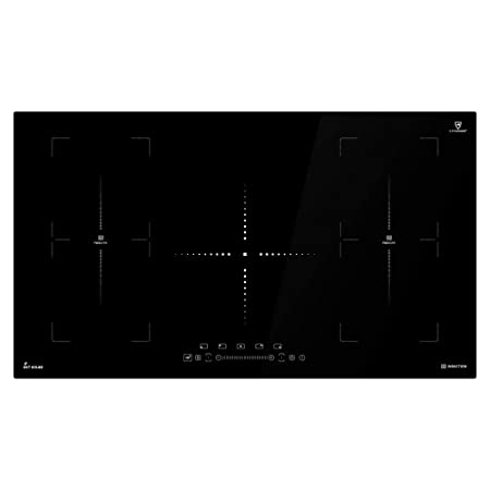 Placa de inducción de 90cm (Autárquica, 9kW, 9 pasos, 5 zonas, 2 zonas flexibles, sin marco, teclas de sensor TouchSelect, control deslizante, ...