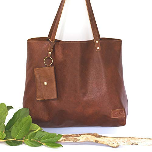 6cc9a71ced Amazon.com  Cognac Leather Tote Bag with Keychain Wallet - Large Brown  Handbag - Leather Tote for Work