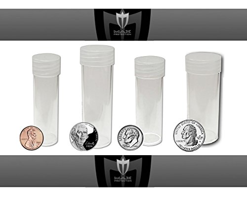 (16) Coin Tubes Assorted Sizes - Crystal Clear and Archival Safe Coin Tubes with Screw On Caps by Max Pro Coin Supplies - Penny - Nickel - Dime & Quarter