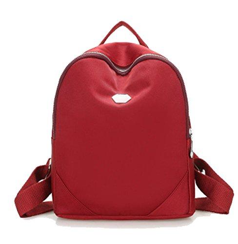 Chica Paño De Oxford Mochila Escuela De Viento Nylon Simple Moda Todo-fósforo Bolso De Escuela,Red1 Red2