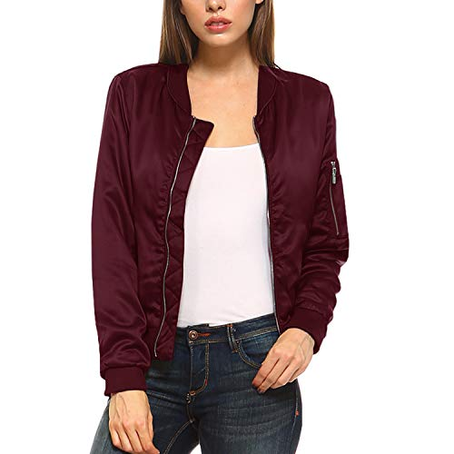 Nylon Quilted Jacket Bomber (Fashionazzle Women's Solid Classic Zip Up Quilted Short Bomber Jacket Padded Coat (Small, BMJ05-Burgundy))