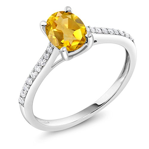 Gem Stone King 10K White Gold Pave Diamond Engagement Solitaire Ring set with 8x6mm Oval Yellow Citrine 1.40 ct (Size 7)