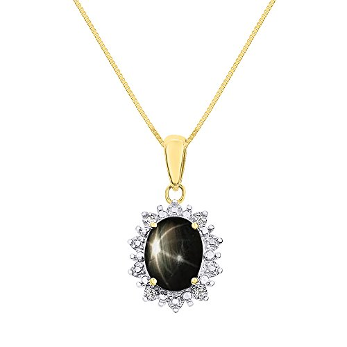 Rylos Diamond & Black Star Sapphire Pendant Necklace Set in 14K Yellow Gold with 18