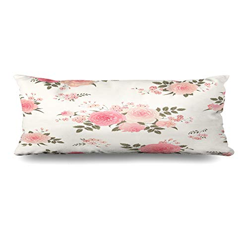 Ahawoso Body Pillows Cover 20x54 Inches Pastel Pink Flower Floral Bouquets Roses Vintage Pattern Green Summer Abstract Bloom Classic Decorative Cushion Case Home Decor Pillowcase