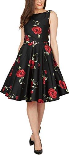 BlackButterfly 'Audrey' Vestido Vintage Años 50 Infinity Grandes Rosas Rojas