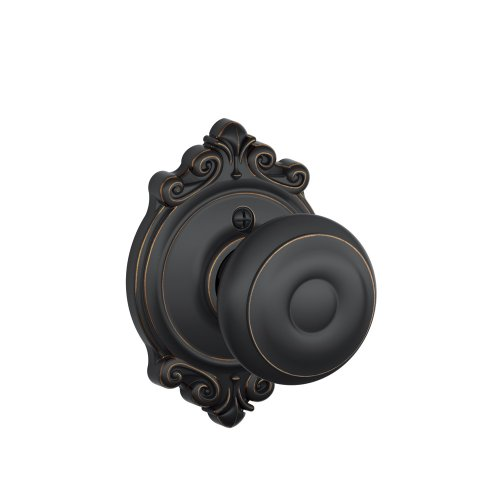 Schlage Lock Company Georgian Knob with Brookshire Trim Non-Turning Lock, Aged Bronze (F170 GEO 716 BRK)