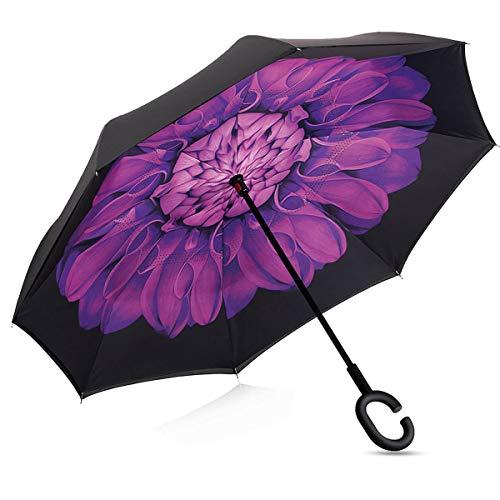 Amagoing Car Inverted Umbrella Double Layer Windproof Reverse Umbrella for Rain Sun ()