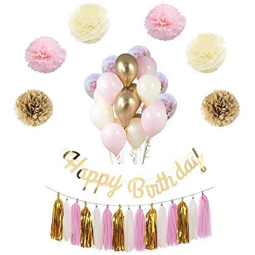 Birthday Decoration,Gold and Pink Birthday Decorations for Girl, Birthday Party Kit Includes Happy Birthday Banner, Latex Balloons, Confetti Balloons, Paper Flowers, Tassel Garland.Any age, gender -