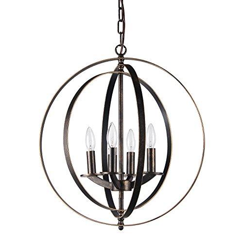 Edvivi 4-Light Antique Bronze Iron Rings Globe Sphere Orb Cage Chandelier Ceiling Fixture Modern Farmhouse Lighting