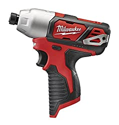 Milwaukee 2462-20 M12 14 Inch Hex Shank 12 Volt Lithium Ion Cordless 2,500 Rpm 1,000 Inch Pounds Impact Driver Wled Light & Fuel Gauge (Battery Not Included, Power Tool Only)
