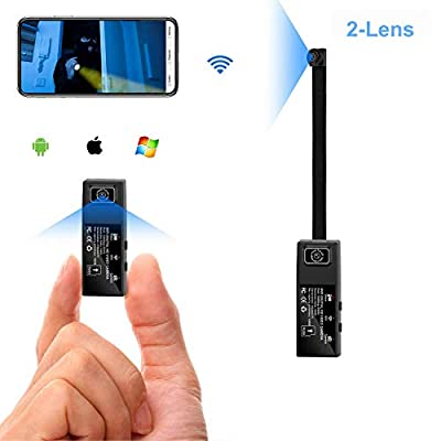 Wifi Mini Spy Camera 2 lens HD 1080P Portable Hidden camera Wearable Nanny Body Camera for Mobile APP with Motion Detection Alarm ?Upgrade Version?