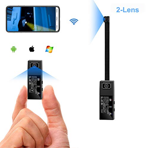 Wifi Mini Spy Camera 2 lens HD 1080P Portable Hidden camera Wearable Nanny Body Camera for Mobile APP with Motion Detection Alarm (Upgrade Version)