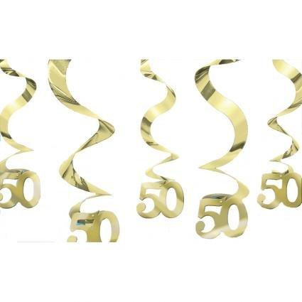 Amscan 679099 Set 5 Pendenti a Spirale per Cinquantesimo Anniversario, Oro