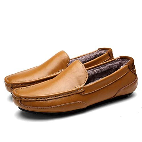 Men Casual Driving Shoes Men Genuine Leather Loafers Men Shoes Flats Shoes,Brown,9.5 ()