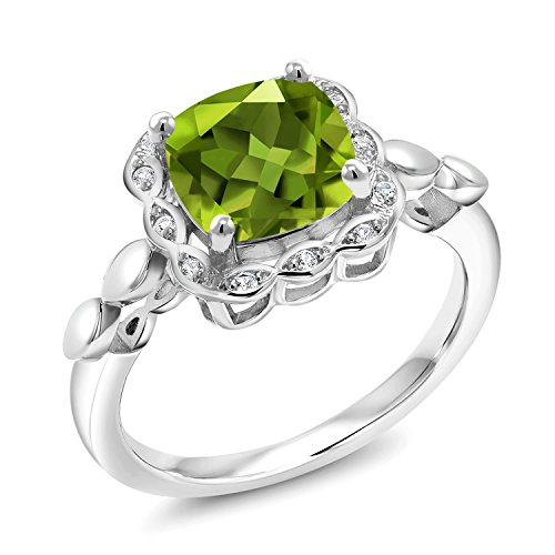 Gem Stone King 925 Sterling Silver Green Peridot and White Created Sapphire Women's Ring 2.55 Ct Cushion Cut Available in size 5, 6, 7, 8, 9