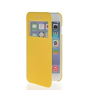 FirstTelecom Tapa Funda Carcasa Cuero Case para Apple iPhone 6 (4.7 inch) Amarillo